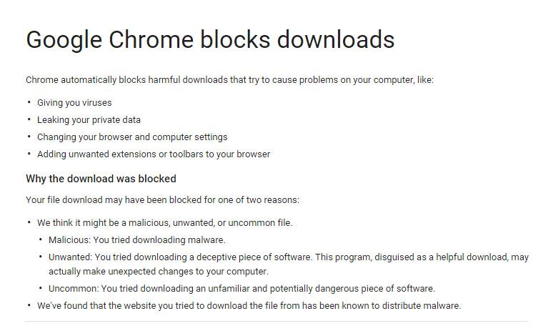 Download gets blocked